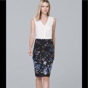 WHBM Floral Print Pencil Skirt, NWT